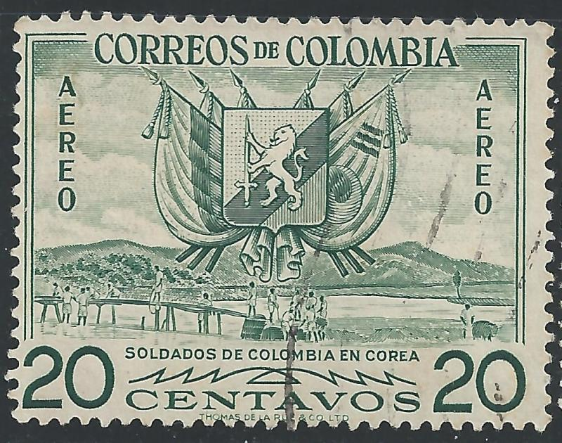Colombia #C269 20c Arms Flags & Soldiers Bldg Bridge