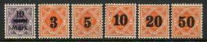 GR Lot 10069 German State Wurttemburg 1922-3 MICHEL 160 184-188 Dienst