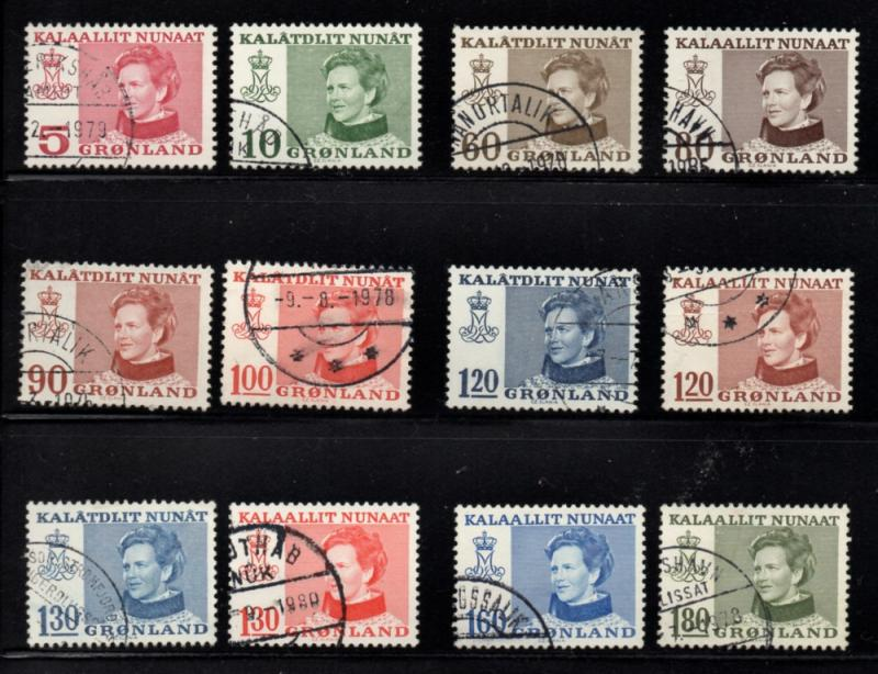 Greenland Sc 86-97 1973-9 Queen Margrethe stamp set used