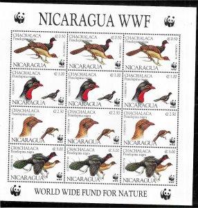 Nicaragua #2067 Birds  Sheet of 12 (MNH) CV$8.25