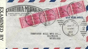 WWII CENSORED COVER FROM PUERTO RICO TO NEBRASKA 1942