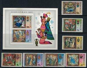 Dominica #541-8* NH  CV $3.80  Christmas 1977 set & Souvenir sheet