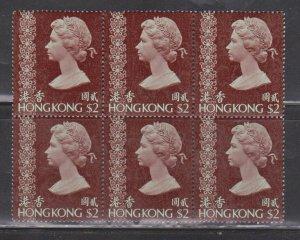HONG KONG Scott # 285a MNH Block Of 6 - QEII Definitive Wmk 373 - Perf 14 x 14.5