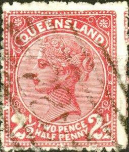 AUSTRALIA / QUEENSLAND 1890 - SG191 2-1/2d carmine p.12-1/2 - Fine Used