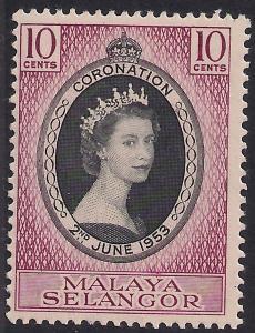Malaya Selangor 1953 QE2 10ct Coronation MM SG 115 ( R1181 )