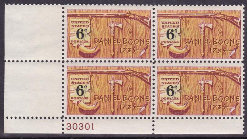 United States 1968 Daniel Boone  Issue Plate Number Block VF/NH