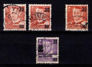 Denmark 1955-60 Frederik IX Definitives Optd. incl. World Refugee Year [Used]