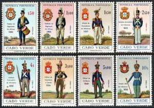 Cape Verde 330-337, MNH. Uniforms. Drummer, Soldier, Grenadier, Officers, 1965