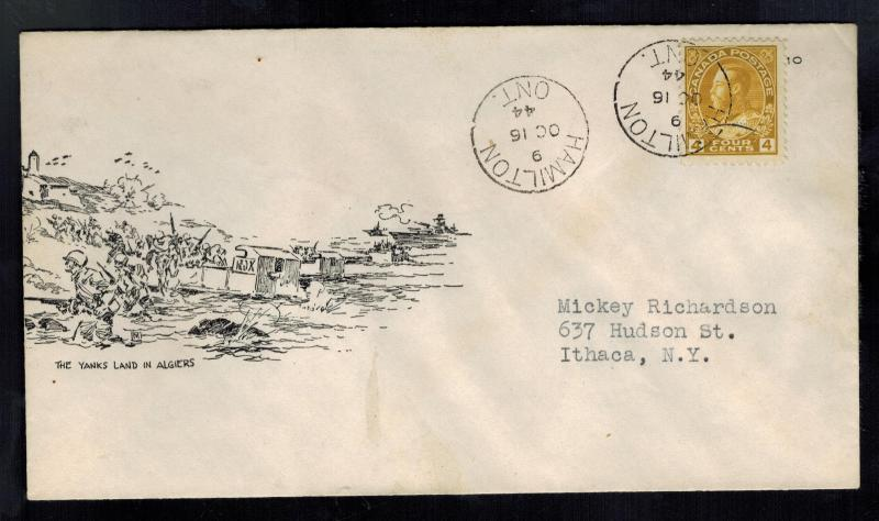 1944 Hamilton Canada Patriotic war cover to USA Yanks Land in Algiers