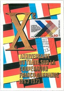 26370 -  FRANCE  - Postal History - MAXIMUM CARD  1973  POLITICS  Flags