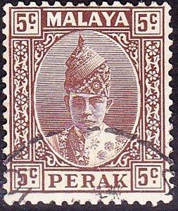 MALAYA PERAK 1939 KGVI 5c Brown SG108 Used
