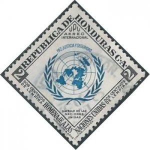 Honduras C223 (used) 2c UN emblem, blue &black (1953)