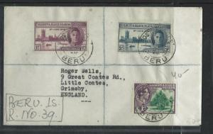 GILBERT AND ELLICE ISLANDS (PP0103B)  KGVI REG COVER BERU TO ENGLAND