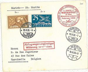 FIRST FLIGHT cover AVIATION:  - SWITZERLAND Schweiz 1935 -  ZURICH \ ST MOTITZ