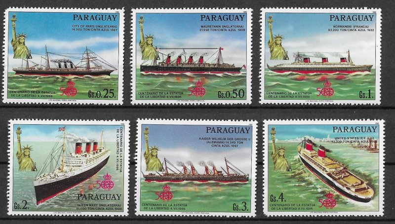 Paraguay MNH Set Of 6 Ships & Statue Of Liberty 1986
