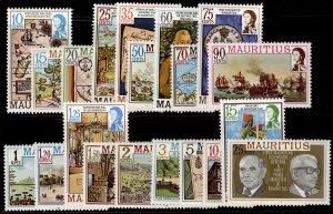 MAURITIUS QEII SG529A-548A, 1978-86 complete set, NH MINT. Cat £24.