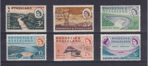 RHODESIA AND NYASALAND # 172-177 VF-MLH QE11 ISSUES CAT VALUE $18+