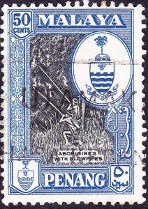 MALAYA PENANG 1960 50c Black & Blue SG62 FU