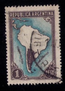 ARGENTINA SCOTT #446 USED MAP WITHOUT BORDERS F-VF