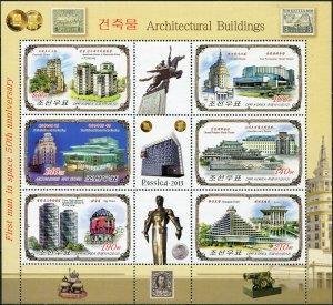 Korea 2012. Buildings in Moscow and Pyongyang (MNH OG) Miniature Sheet