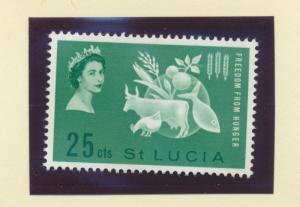 St. Lucia Scott #179, Mint Light Hinge Marks MLH, Freedom From Hunger, Britis...