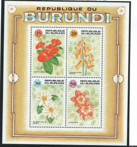 1992   BURUNDI  -  SG  MS  1511  -  FLOWERS - UNMOUNTED MINT