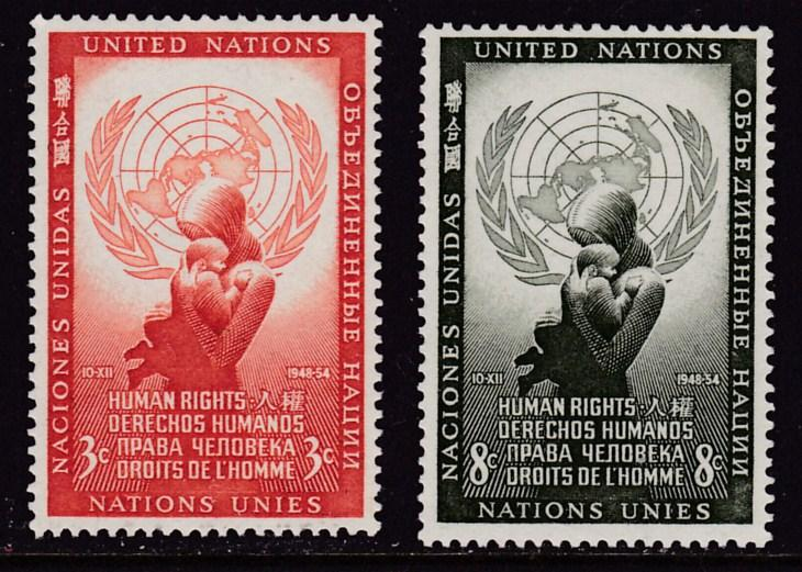 United Nations 1954 Human Rights Day Complete (2) VF/NH(**)