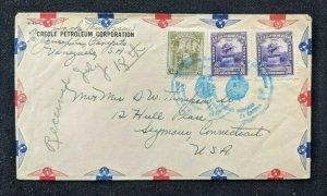 1947 Creole Petroleum Corporation Venezuela Airmail Cover to Seymour CT USA