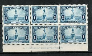 Canada #227 Very Fine Never Hinged Plate #1 Lower Block Of Six