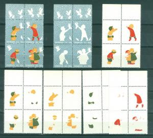 Denmark Christmas Seal 1954 Set 7. 4-Blocks,Scale/Proof,Mnh. Perforated