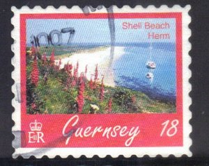 GUERNSEY  SC# 593 **USED** 18p  1997  SHELL BEACH  SEE SCAN