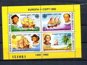 Romania   1992 Europa mini sheet   Mint VF NH