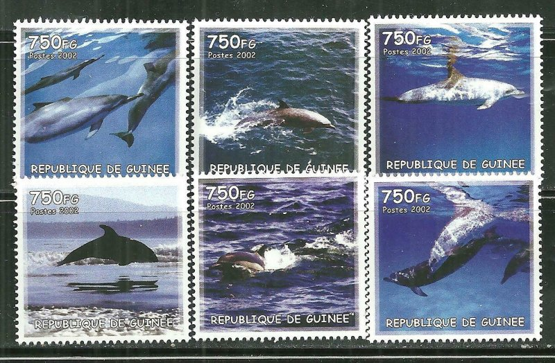 Guinea MNH Set Of 6 Dolphins 2002