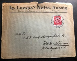 1938 Aussig Sudetenland Annexation Germany Commercial Cover To Teplitz