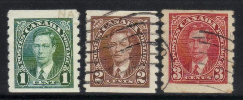 CANADA 1937-1938 DEFINS (COILS) USED SET OF 3 CAT £16