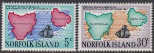 Norfolk Is. 123-4 MNH - Map