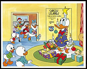 Caicos Islands 59, MNH, Disney Christmas 1984 souvenir sheet