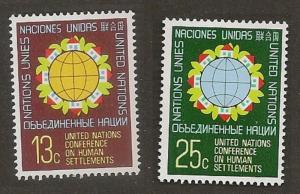 United Nations 276-277 New York Human Settlements set MNH 1976