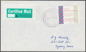 AUSTRALIA 1985 (15 Feb)  $1.15 Frama on Certified Mail cover ex Canbera.....E194