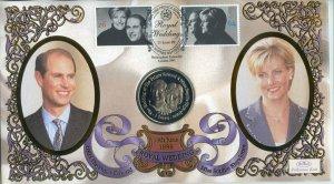 1999 Benham Royal Wedding Coin Cover with Gibraltar 1 Crown Coin