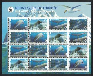 BAT WWF Blue Whale Sheetlet of 4 sets Dark-blue background SG#361-364 MI#353-356