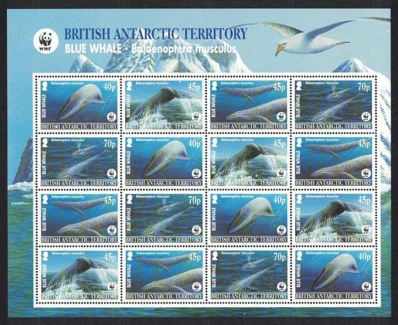 BAT WWF Blue Whale Sheetlet of 4 sets Dark-blue background SG#361-364 MI#353-356
