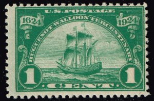 US STAMP #614 1924 1¢ Ship Nieu Nederland Huguenot-Walloon Issue MNH/OG