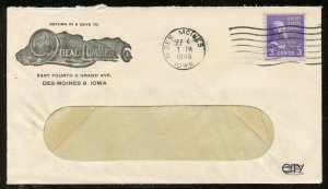 US Scott 842 Prexie Coil on Ad Cover for Queal Lumber Co in Story City, I0wa