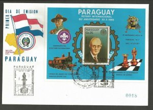 1985 Scouts Paraguay Rotary chess Apollo space SS FDC