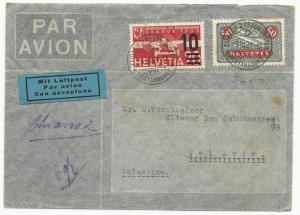 Switzerland Scott #207-211 #340 #337 Air Mail Cover Front Zurich March 14, 1952