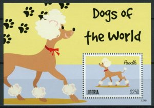 Liberia Domestic Animals Stamps 2012 MNH Dogs of World Poodle 1v S/S