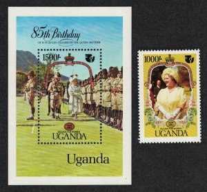Uganda Life and Times of Queen Elizabeth the Queen Mother 1v+MS SG#478-MS479