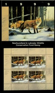 NEWFOUNDLAND #6M 1999 FOX CONSERVATION STAMP MINI SHEET OF 4 IN FOLDER