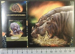 Djibouti 2016 hippos animals s/sheet mnh